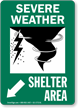 Severe Weather Shelter Area Down Left Arrow Sign