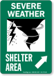 Severe Weather Shelter Area Upper Right Arrow Sign
