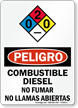 Spanish Combustible Diesel No Fumar Llamas Abiertas Sign