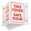 Take Cover Safe Room Projecting Emergency Sign