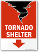 Tornado Shelter Sign with Down Arrow