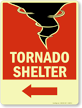 Tornado Shelter Sign with Lower Left Arrow