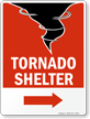 Tornado Shelter Sign with Right Arrow
