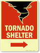 Tornado Shelter Sign with Lower Right Arrow