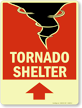 Tornado Shelter Sign with Upper Left Arrow
