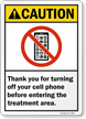 Treatment Area Turn Off Cell Phones Sign