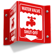 Water Valve Shut Off Projecting Sign