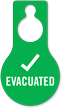 Evacuated With Tick Symbol Door Hang Tag