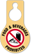 Food And Beverages Prohibited Door Hang Tag