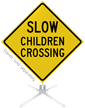Slow Children Crossing Roll-Up Sign
