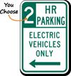 2 Hour Parking Electric Vehicles Left Arrow Sign