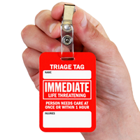 Immediate Life Threatening ID Badge With Bulldog Clip