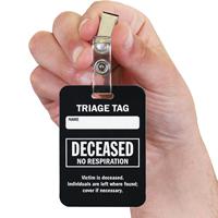 Deceased Triage Tag With Bulldog Clip