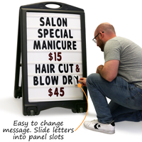 Change your message on a sandwich board sign