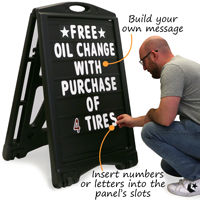 Build your own sign message with these changeble letter sandwich board signs