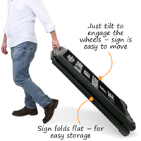 Fold sign flat and use wheels to easily move the sign