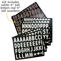 """Kit includes white 4"""" tall letters red 4"""" tall numbers"""