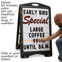 "Slide in your numbers or letters – kit includes 9"" tall headlines and numbers"