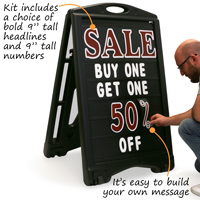 "Deluxe kit includes extra tall ""tall headlines and large 9"""" tall numbers"