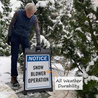 Custom a-frame sign in snow