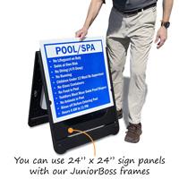 "JuniorBoss Frames use a 24"" x 24"" sign panel"