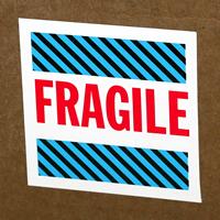 Fragile Blue Stripes Labels