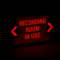 LED Exit Sign with Battery Backup: Recording Room In Use - Red Lettering, White Background