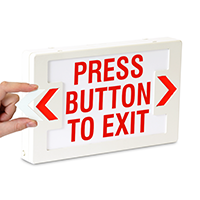 Press Button to Exit- Red Lettering,LED Exit Sign
