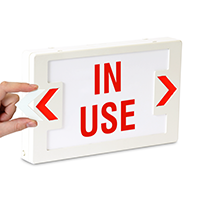LED In Use Exit Sign with Battery Backup