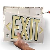 Photoluminescent  White w/Green Molded Exit Sign