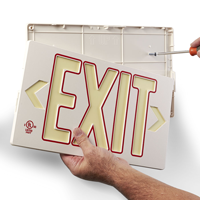 Photoluminescent  White w/Red Molded Exit Sign