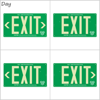 1 Sided Green Background LED Exit Sign