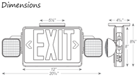 LED Exit Sign with Adjustable Lamp Heads