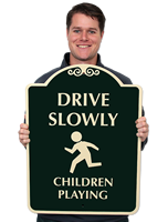 Drive Slowly Children Playing (symbol) Signs