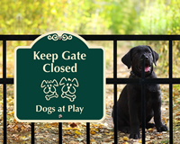 Gate Closed Dogs At Play Sign