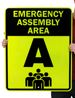 Emergency Assembly Area & Fire Drill Sign