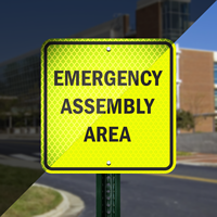 Fluoresc'nt Yellow Green Assembly Area Sign
