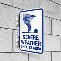 Double Sided Severe Weather Shelter Area Sign
