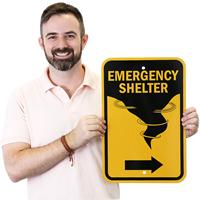 Directional Emergency Shelter Sign