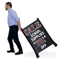 Portable black sidewalk sign with large letters