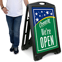 Come In We Are Open A-Frame Portable Sidewalk Sign