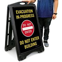 Evacuation In Progress A-Frame Portable Sidewalk Signs