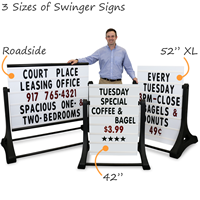 Compare three sidewalk sign sizes