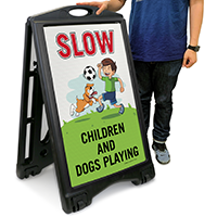 Children and Dogs Playing Sign