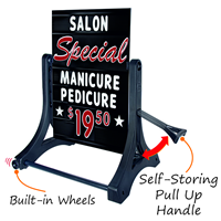 Deluxe swinger sign has double height letters and numbers and a pull out handle