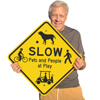 Slow ppets and people at play sign
