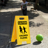 Caution Children Playing Floor Signs