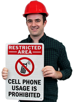 Cell Phone Usage Is Prohibited (with Graphic) Sign