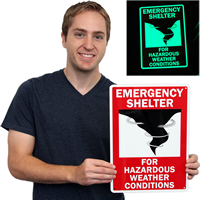 Hazardous Weather Emergency Sign