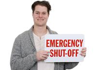 Emergency Shut-Off Fire Sign